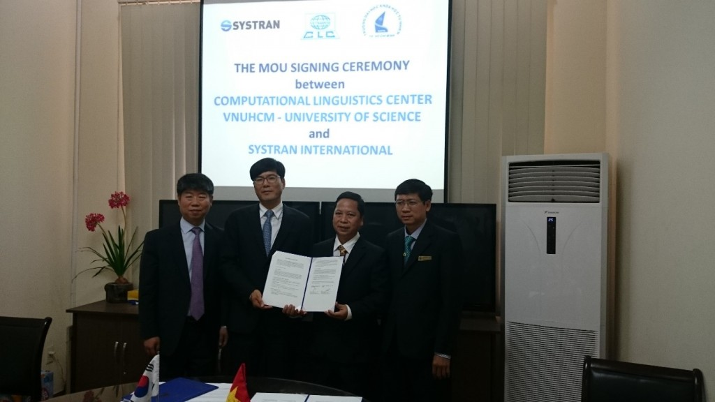 The MOU signing ceremony between Computational Linguistics Center (CLC) and SYSTRAN International